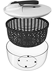Vremi Large Salad Spinner - 6.3 Quart Capacity & BPA Free Collapsible Vegetable Dryer - Clear Bowl with Lid and Colander Basket Insert - 6 Liter Lettuce Spinner with Easy Spin Locking Handle - Black