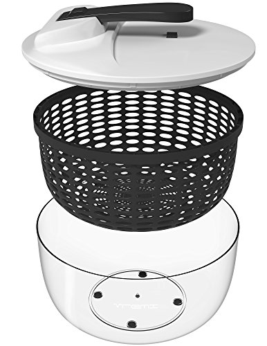 Vremi Large Salad Spinner - 6.3 Quart Capacity & BPA Free Collapsible Vegetable Dryer - Clear Bowl with Lid and Colander Basket Insert - 6 Liter Lettuce Spinner with Easy Spin Locking Handle - (Push Down Chopper)