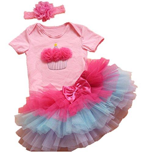 AISHIONY Newborn Baby Girls 1st Birthday Tutu Onesie Outfit Party Dress 3PCS L