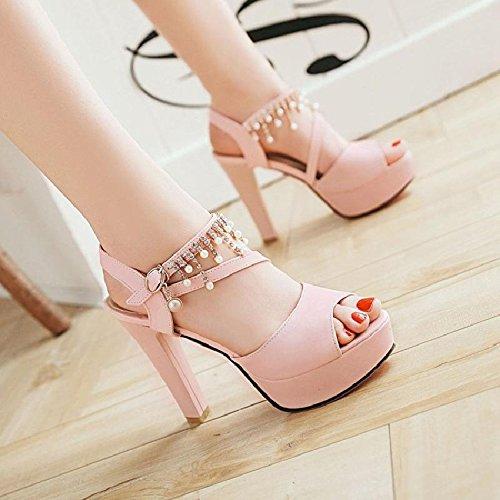 moda alti tacco con I alto sfoggiano YMFIE donna sandali sexy da tacchi tacco Pink alto e col perle alla t6nndwq1T