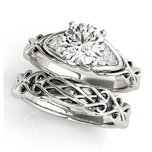 14K White Gold Unique Wedding Diamond Bridal Set Style MT50947