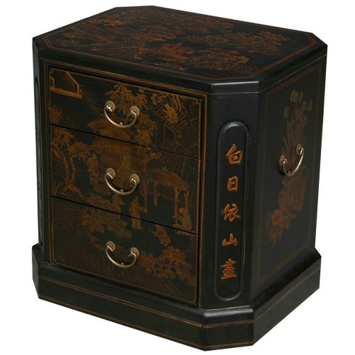 EXP Handmade Oriental Furniture 24-Inch Antique Style 3-Drawer Black End