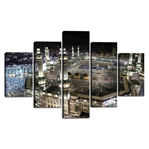Islamic Canvas Wall Art Canvas Painting Pictures of Hajj Pilgrimage to Kabah in Mecca for Living Room Modern Muslim Multi Panel Posters Arabia Decorative Artwork Framed Ready to Hang (60