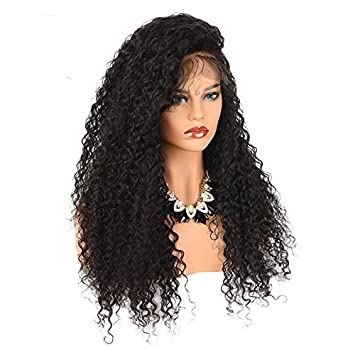 250% Denisty Natural Kinky Curly Human Hair Lace Front Wig Free Part Malaysian Virgin Hair
