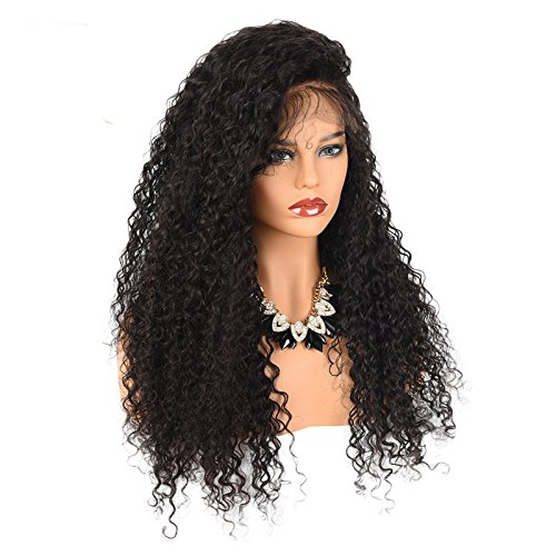 Amazon.com: 250% Denisty Natural Kinky Curly Human Hair Lace Front Wig Free Part Malaysian Virgin Hair Lace Wig for Black Women (22