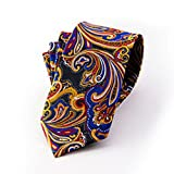 Jacob AleX #47194 Governor Officer Costume Paisley Blue Red JACQUARD WOVEN Necktie