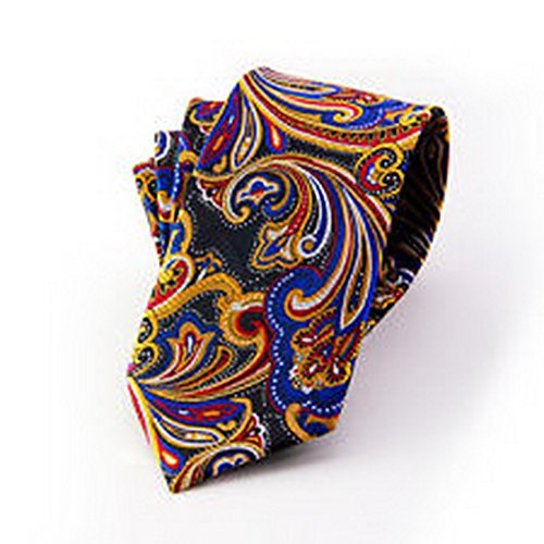 Jacob AleX #47194 Costume Paisley Blue Red JACQUARD WOVEN Necktie ()