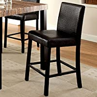 Rockham Contemporary Style Black Finish Counter Height Chairs (Set of 2)