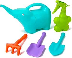 Colwelt Kids Gardening Tool Set 5PCS, Plastic Watering Can Set Include Elephant Watering Can, 3Pcs Colorful Kids Garden Tools