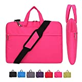 Laptop Case, Laptop Shoulder Bag, CROMI Simplicity Slim Lightweight Briefcase Commuter Bag Business Sleeve Carry Hand Bag Nylon Waterproof Notebook Shoulder Messenger Bag (Rose, 14 inch)