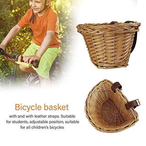 Children's Wicker Bicycle Basket,Traditional Wicker Bicycle Front Basket – Manual Technology Waterproof No Break Basket Carrier Bag with Tan Leather Straps