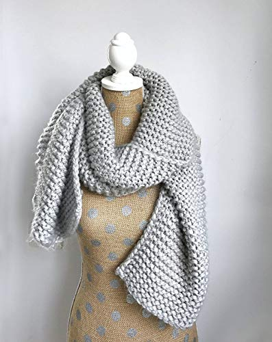 Chunky Knit Super Scarf - Oversized Knitted Long Scarf in Grey ()