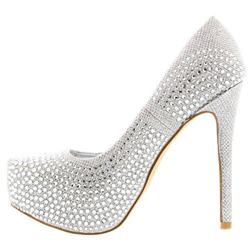 Femmes Viva Plate Soir Haut Diamante Escarpins Argent formes Fête Stylet Talon dff7x