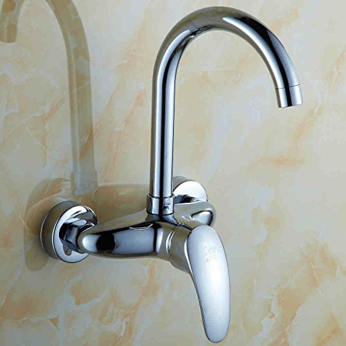 YI YA YA - all-copper wall-mounted kitchen hot and cold faucet single handle wall-mounted pots sink sink laundry can be rotating taps
