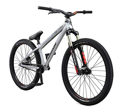 Mongoose Fireball SS Dirt Jump Mountain Bike with 26-Inch Wheels in Chrome, Manitou Circus Expert Suspension Fork, Tectonic T1 Aluminum Frame, Single-Speed Drivetrain, and Hydraulic Disc Brake