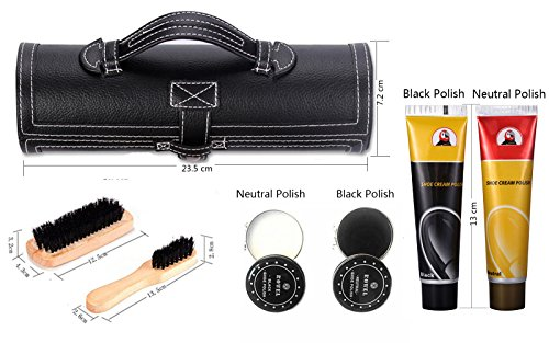 11 in 1 Travel Shoe Shine Kit with PU Leather Sleek Elegant Case Black by TOCGAMT (Image #3)