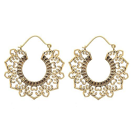81stgeneration Women's Brass Gold Tone Heart Filigree Creole Gypsy Indian Tribal Ethnic Earrings