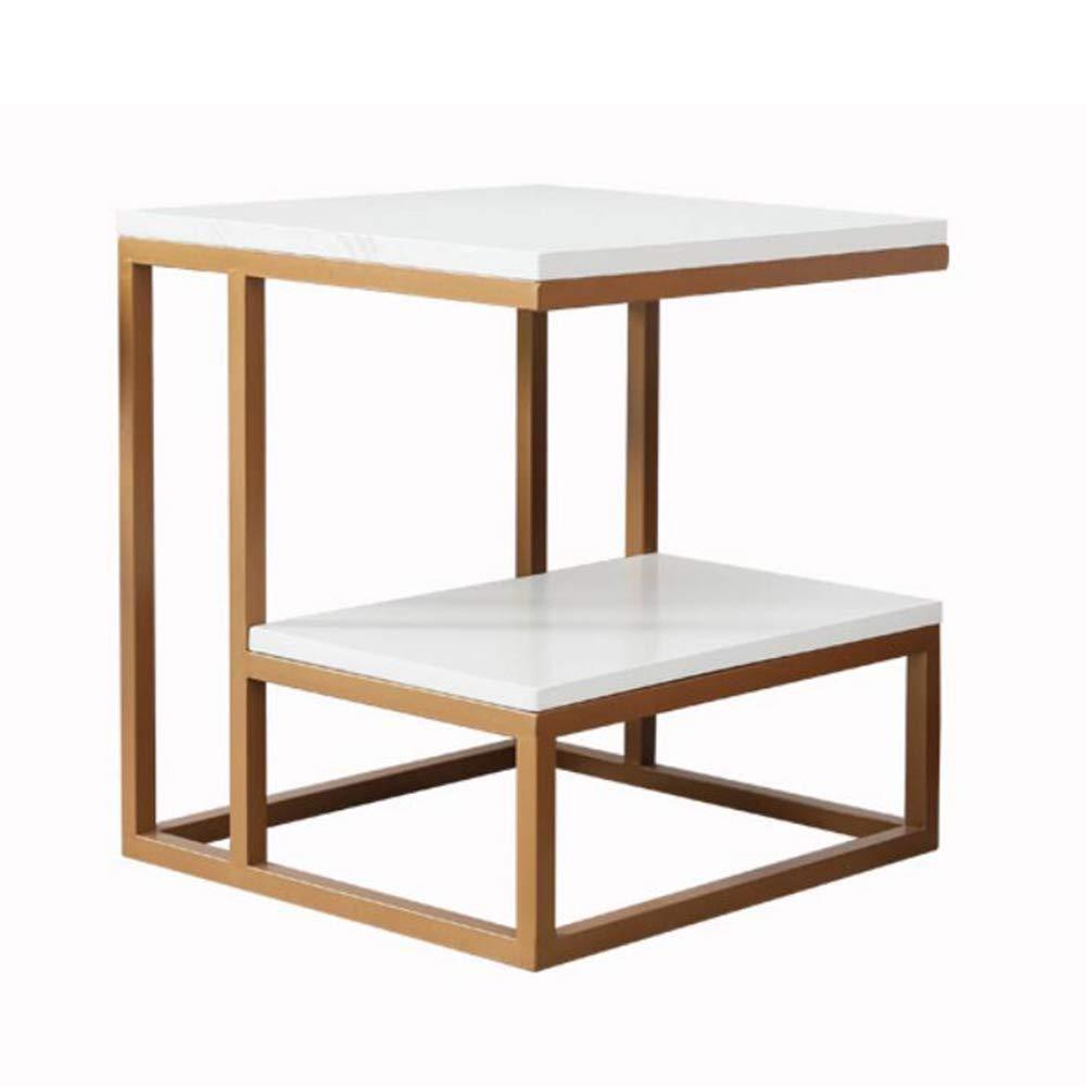 YNN ポータブルテーブル ソファサイドテーブルコーヒーテーブルスナックテーブルバルコニーベッドサイドテーブルのリビングルーム小さなスクエアテーブル2色 (色 : ゴールド)  ゴールド B07P8D71S7