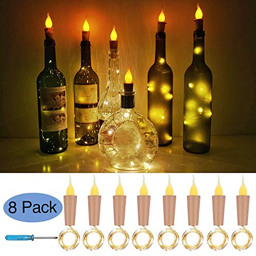 Cooo Flameless Candle Bottle Lights with Cork 8 Pack 11 Led Battery Operated Used Wedding DIY Party Bookshelf Indoor Outdoor Lights Decoration - Warm White