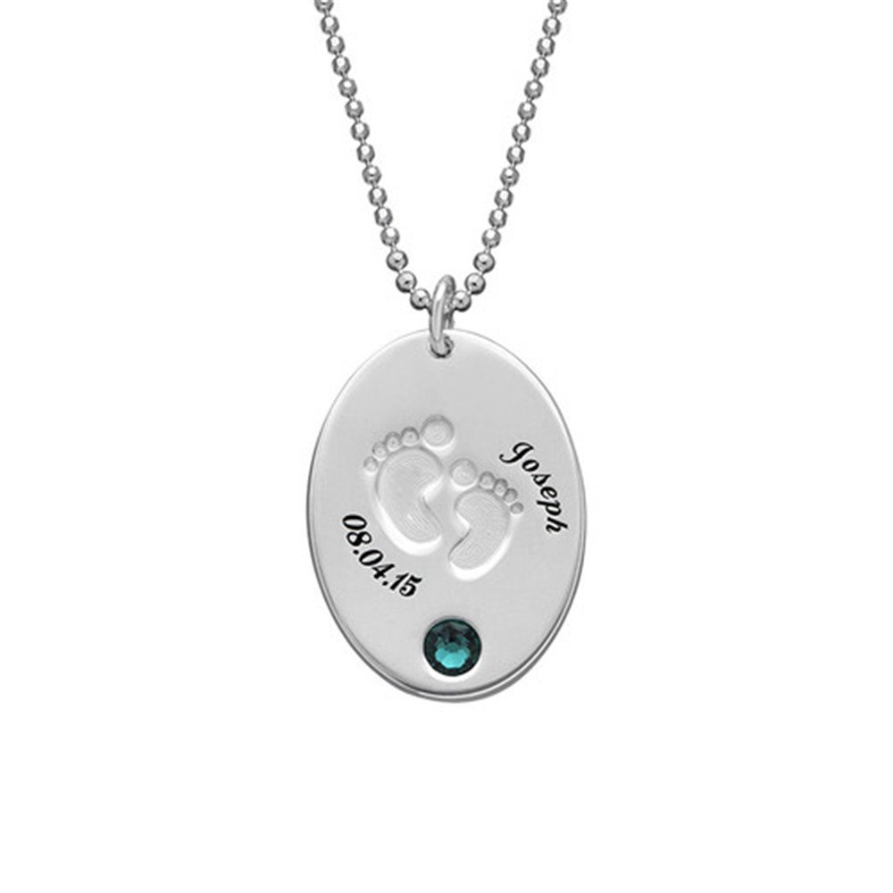 KIKISHOPQ Personalized Necklace Custom Baby Footprints and Inlays Birthstone Name Date