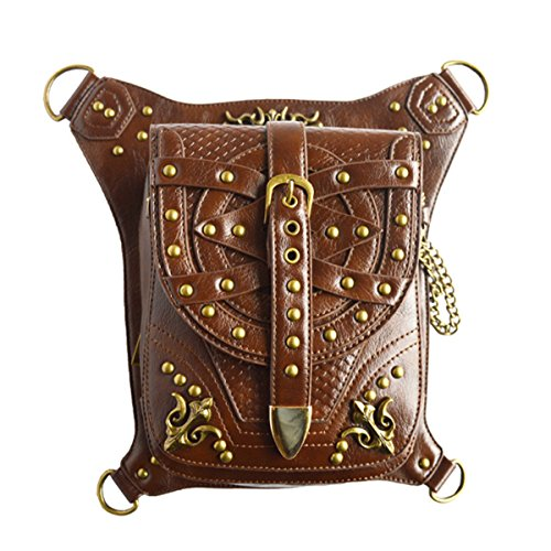 20' Fine Jewelry (Qhome Brown Rivet Retro Women Gothic Leather Steampunk Bag Steam Punk Rock Gothic Goth Shoulder Waist Bags Packs Victorian Style for Women Men + Leg Thigh Holster Bag)