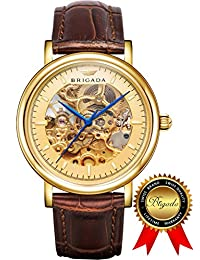 BRIGADA Swiss Watches Automatic Hollow Mechanical Gold Watch for men (gold)