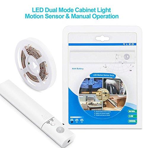 LED Schrankbeleuchtung,LUXJET® 30LED 1M LED Streifen,BatterieBetrieben Nachtlicht,3000K Warmweiß Bewegungssensor für Kinderzimmer, Schlafzimmer, Küche, Orientierungslicht,Schrank
