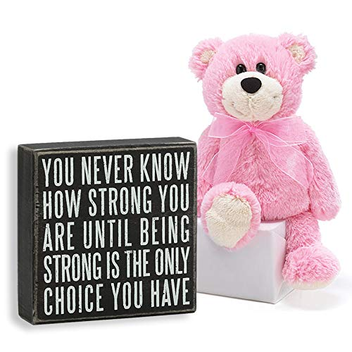 Just 4 U Gifts Breast Cancer Gift You Never Know How Strong You are Box Sign and Plush Breast Cancer Awareness Set (Multi)