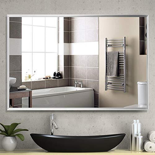NeuType Large Bathroom Mirrors Wall Mounted Mirrors for Bathroom Bedroom Living Room,Vanity Mirror,Aluminum Alloy Thin Frame,Burst-Proof Glass,Two Hanging Ways,Horizontal or Vertical(36