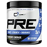 ClearCut PRE, Advanced Pre-Workout with Citrulline Malate, Creatine, BCAAs, Choline, Beta Alanine, 30 Servings (Strawberry Lemonade)