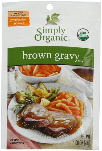 Simply Organic Brown Gravy, Seasoning Mix, Certified Organic, 1-Ounce Packets (Pack of 12)