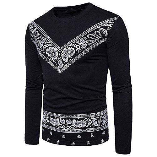 (YKARITIANNA Men's Autumn African Print Long Sleeved Round Collar Sweatshirts Top Blouse)