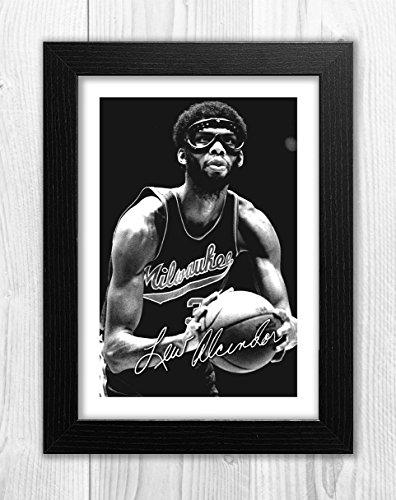 Engravia Digital Kareem Abdul-Jabbar - Milwawkee - NBA 1 SP - Signed Autograph Reproduction Photo A4 Print(Black -