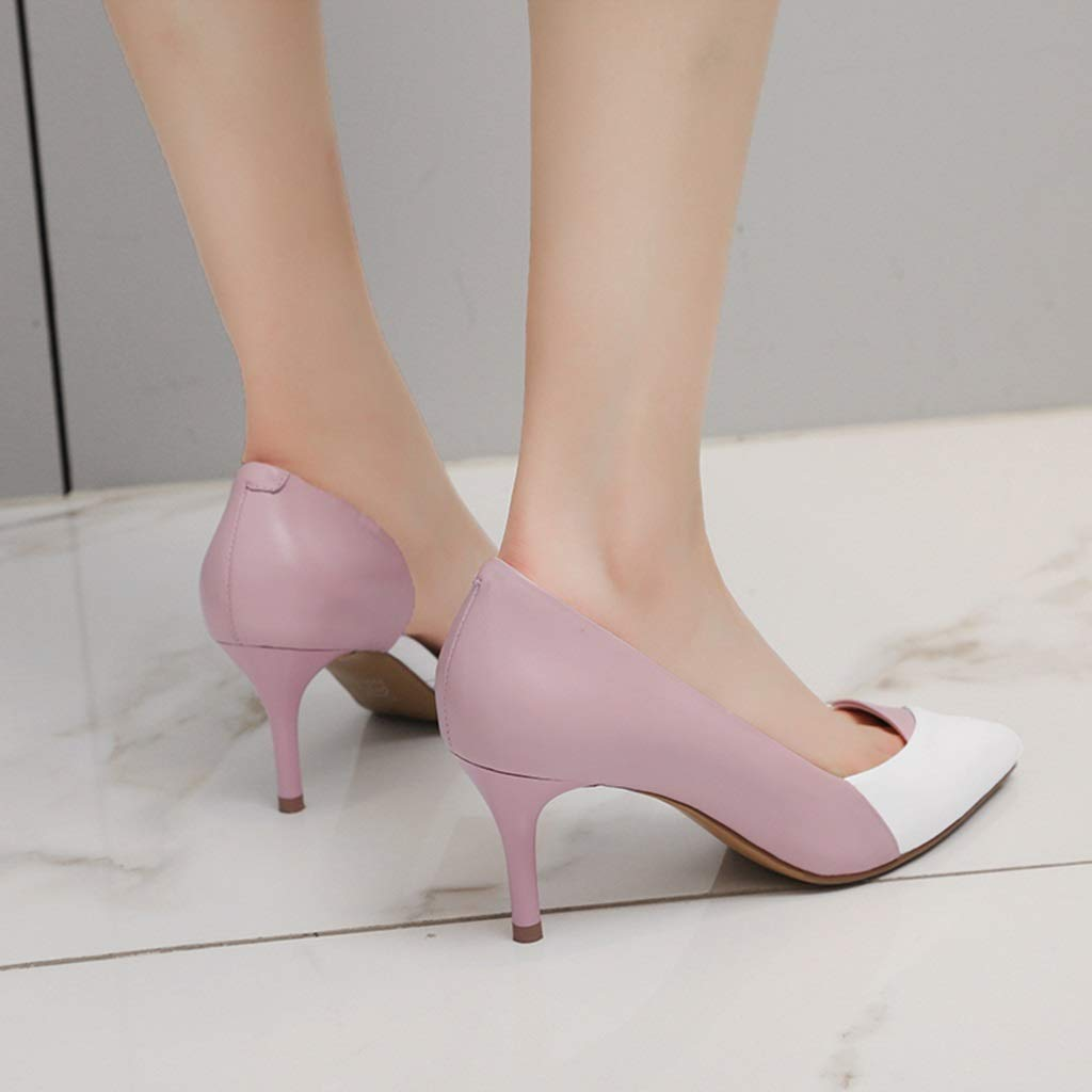 ChixiaO Large Size Shoes Small Size Shoes Spring New Single Shoes Female Leather Ladies Pointed Work Shoes Female Banquet Annual Meeting Dress High Heels Women Color : Pink, Size : 34