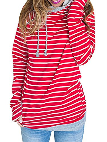 Yibye Women's Striped Long Sleeve Casual Cowl Neck Pullover Hoodie Sweatshirts (XXL, Red)