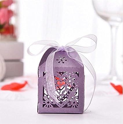 [morado corazón] 50pcs wedding Favors Candy caja papel corte láser cajas de regalo para