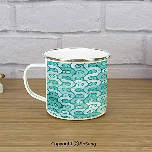 Ocean Travel Enamel Mug,Abstract Swirled Sea Waves Pattern Spiral Forms Marine Theme Curvy Aquatic Artwork Print,11 oz Practical Cup for Kitchen, Campfire, Home, TravelAqua
