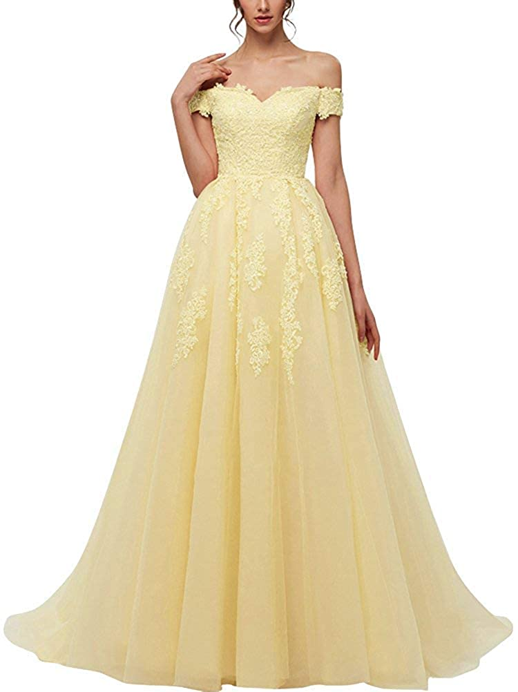 Yellow JAEDEN Prom Dresses Long Formal Evening Gowns Lace Prom Dress A Line Evening Dress Tulle Evening Dresses