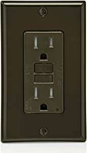 Leviton AFTR1 15-Amp, 120-Volt SmartlockPro Outlet Branch Circuit Arc-Fault Circuit Interrupter (AFCI) Receptacle, Wallplate Included, Brown