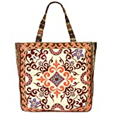 Vintage Bohemian Summer Embroidered Large Tote Bag Tapestry Shoulder Bag Women Handbag (Beige&baby pink)