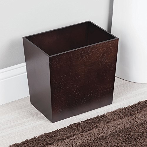mDesign Rectangular Narrow Wood Trash Can Wastebasket, Small Garbage Container Bin for Bathrooms, Kitchens, Home Offices, Craft Rooms - Bamboo Veneer, Espresso by mDesign (Image #1)