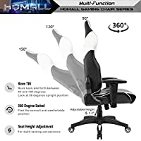 Homall Gaming Chair Racing Style High-back Office Chair Seat Height Adjustable Computer Chair PU Leather Desk Chair Ergonomic Tilt E-sports Chair With Headrest and Lumbar Support(White/Black) from Homall