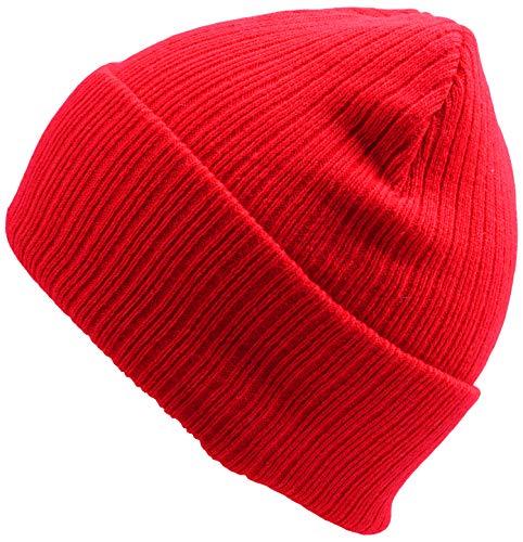 (WDSKY Women's Rib Knit Beanie Hat Fashion Cuffed Red )