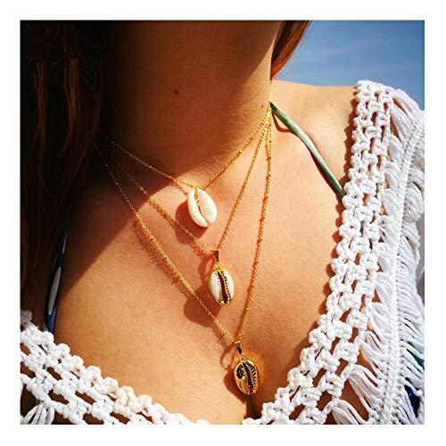 Chic Layered Pendants Shell Scallop Y-Necklace Women Girls Hawaii Wakiki Beach Boho Choker for ()