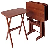 Cherry Wood Folding Tray Tables Set of 4, Rectangular - Heritage Cherry