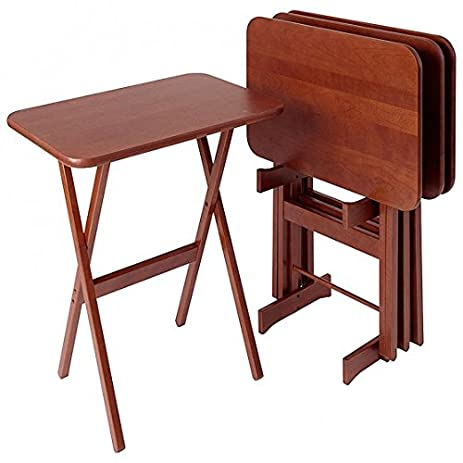 Cherry Wood Folding Tray Tables Set Of 4, Rectangular   Heritage Cherry