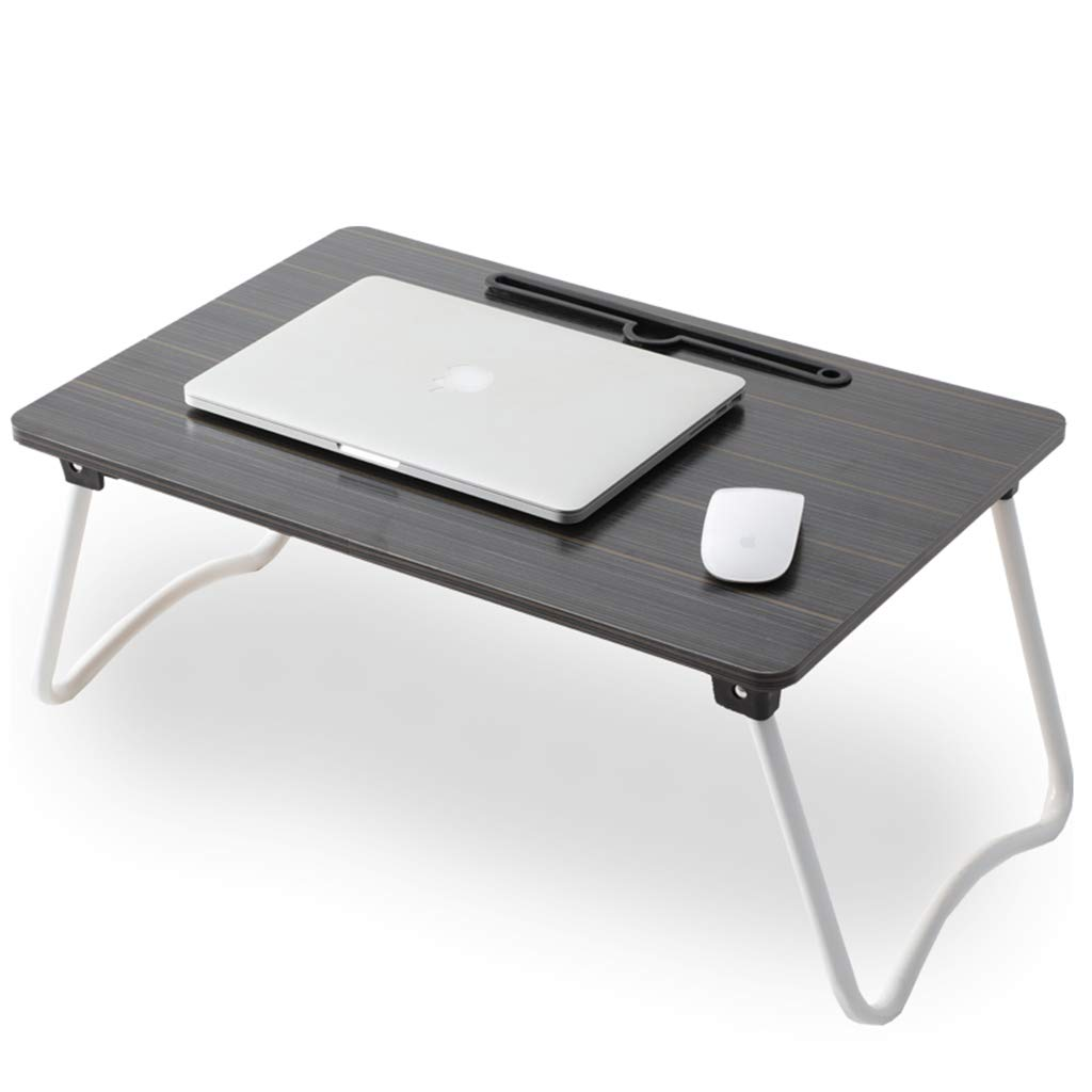Llx Folding Table Bed Computer Folding Table Environmentally Friendly Portable Lightweight Multi-Function Folding Table (Color : Black, Size : 583827CM) by Llx