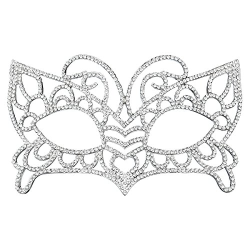 Miallo Bridal Full Rhinestone Crystal Fancy Masquerade Eye Mask for Halloween