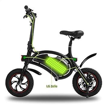 begorey Bicicleta Eléctrica Plegable de Aluminio 20km 350W 36V Rueda de 11.8 pulgadas, negro
