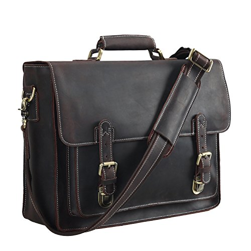 Polare Men's Full Grain Leather Laptop Briefcase Messenger Bag Vintage Travel -